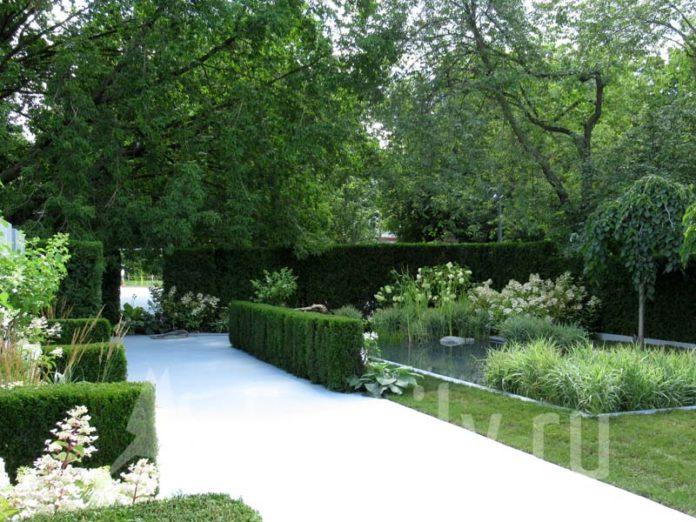 Сад с дорожками из гравия