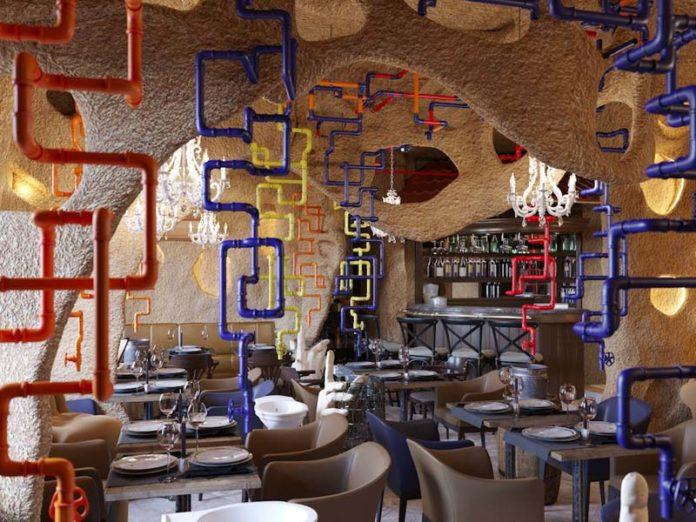 Трубы и раковины в зале ресторана