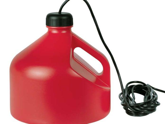 Светильник в виде красной канистры