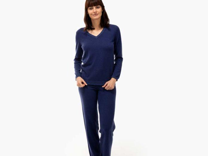 Темно-синяя пижама из кашемира