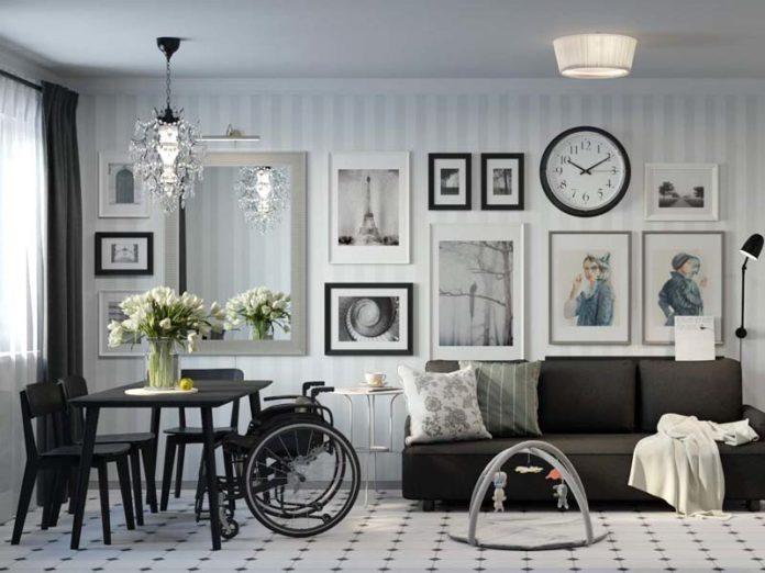 Гостинная для семьи с инвалидом-колясочником