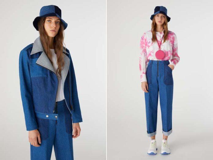 Джинсовая куртка, джинсы и футболка с акварельным принтом