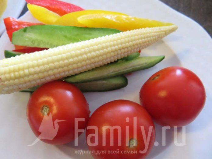 Помидоры, кукуруза, огурцы и перец